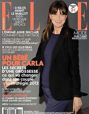 Carla Bruni presume de embarazo en 'Elle'