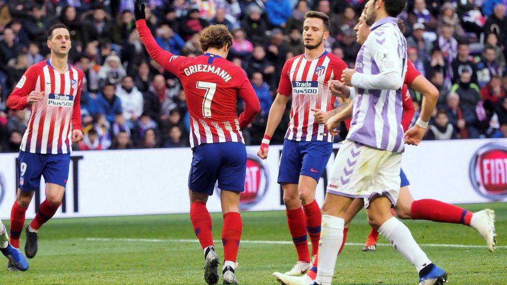 Foto: El baile de Griezmann tras marcar el segundo gol del Atlético de Madrid en Valladolid. (EFE)