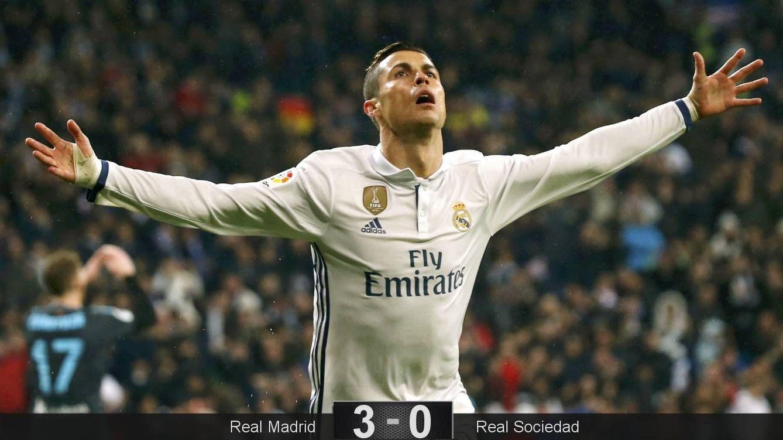Foto: Cristiano Ronaldo celebra su gol a la Real en el Bernabéu. (EFE)