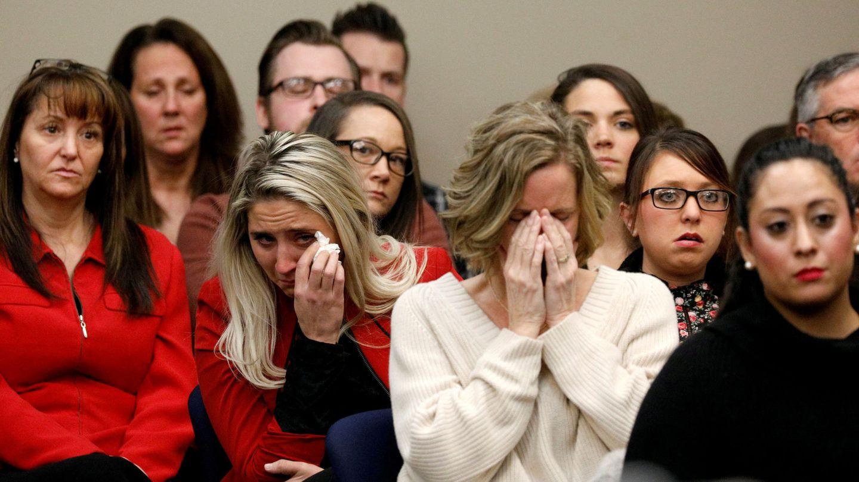 Gimnastas abusadas, en el juicio de Larry Nassar. (Reuters)