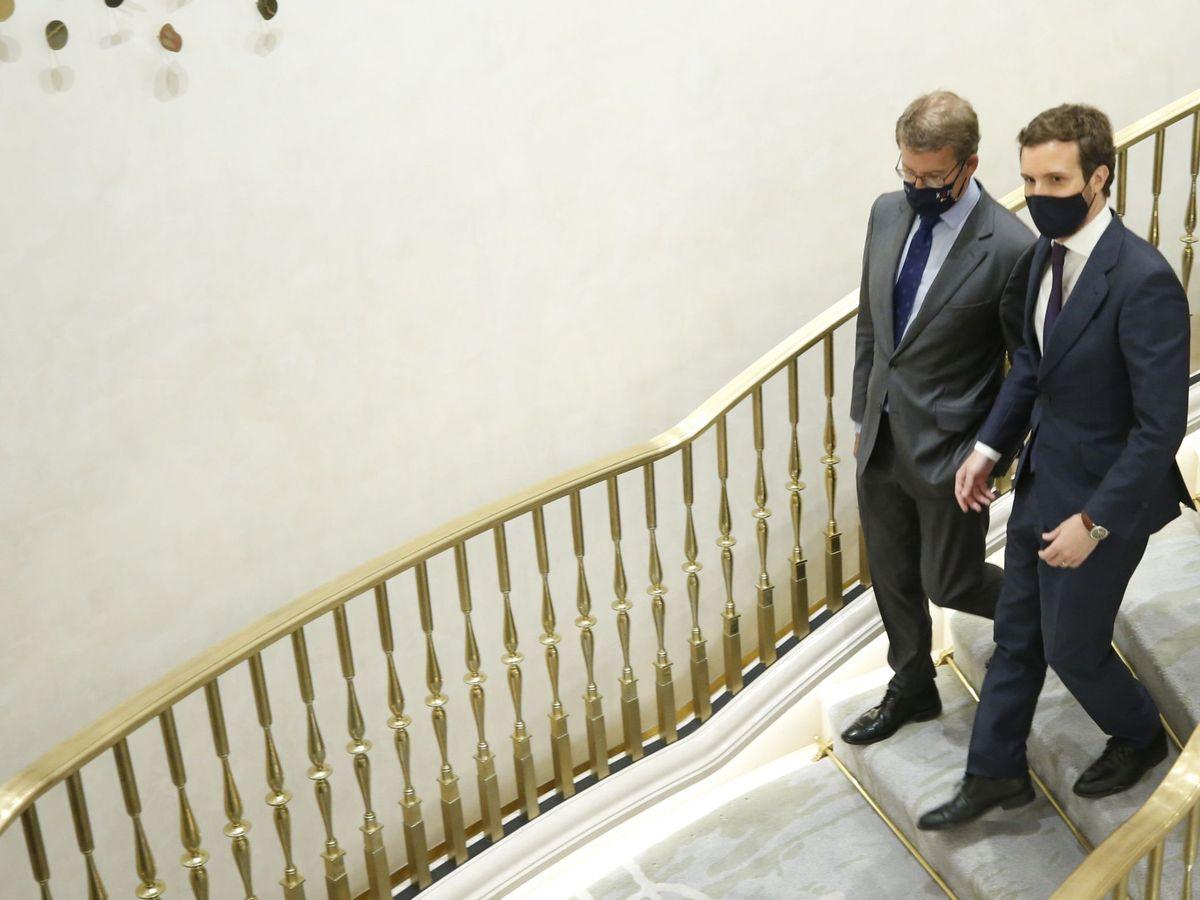 Foto: Alberto Núñez Feijóo y Pablo Casado, en un reciente acto en Madrid. (EFE)
