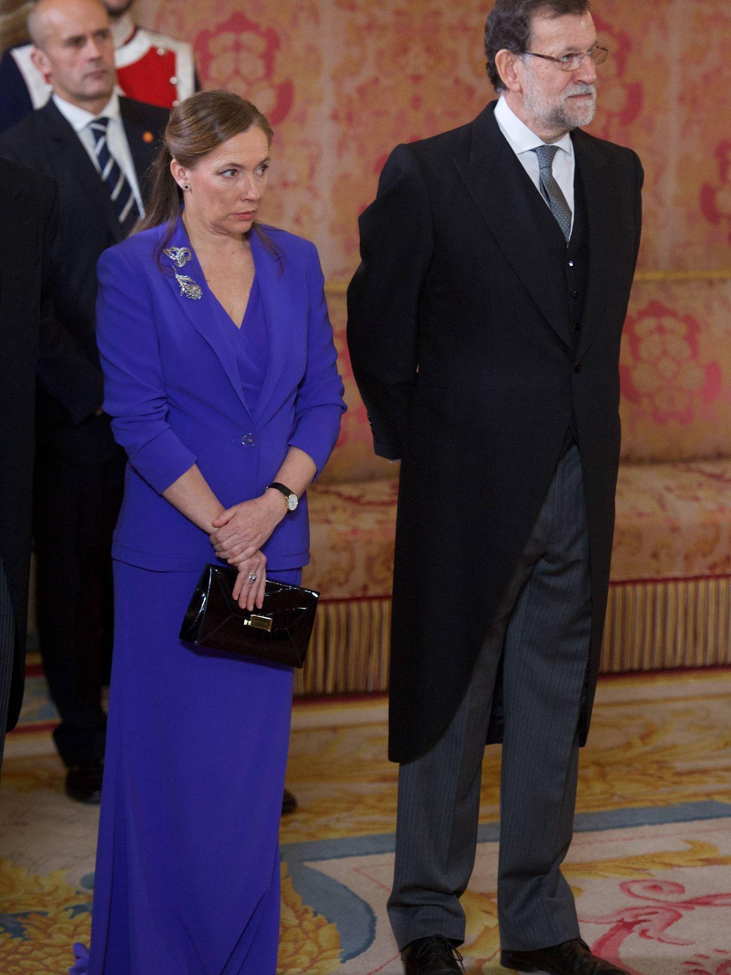 El matrimonio Rajoy, en una recepción oficial en enero de 2015. (Gtres)