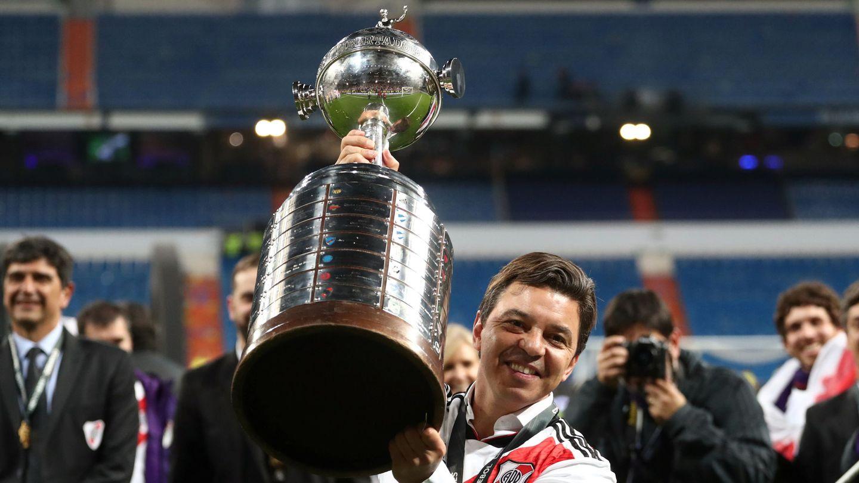 Gallardo, tras ganar la Libertadores en el Bernabéu. (Reuters)