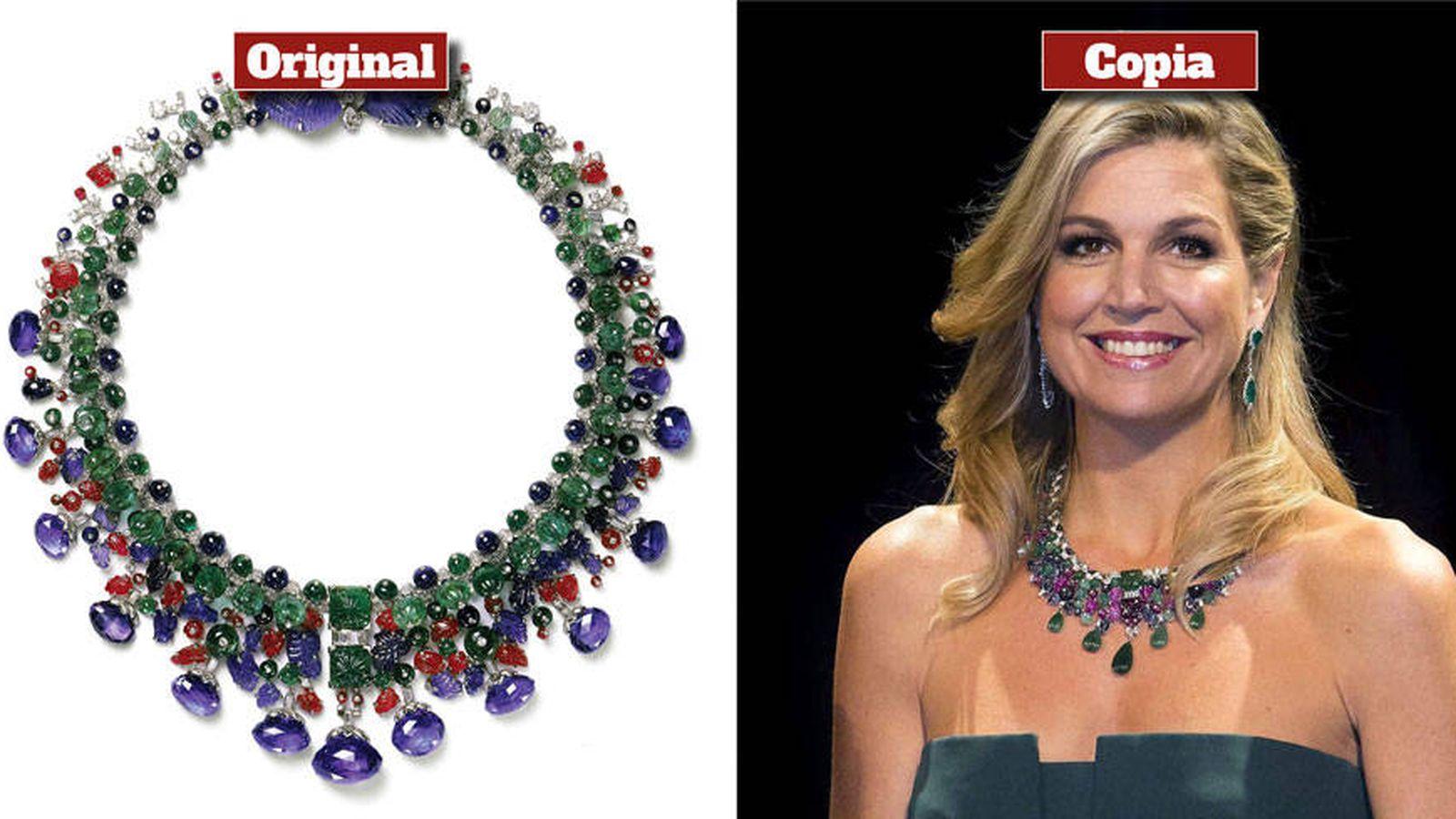 b26a345faf38 Familia Real de Holanda  El collar de imitación de Cartier que luce la reina  Máxima de Holanda