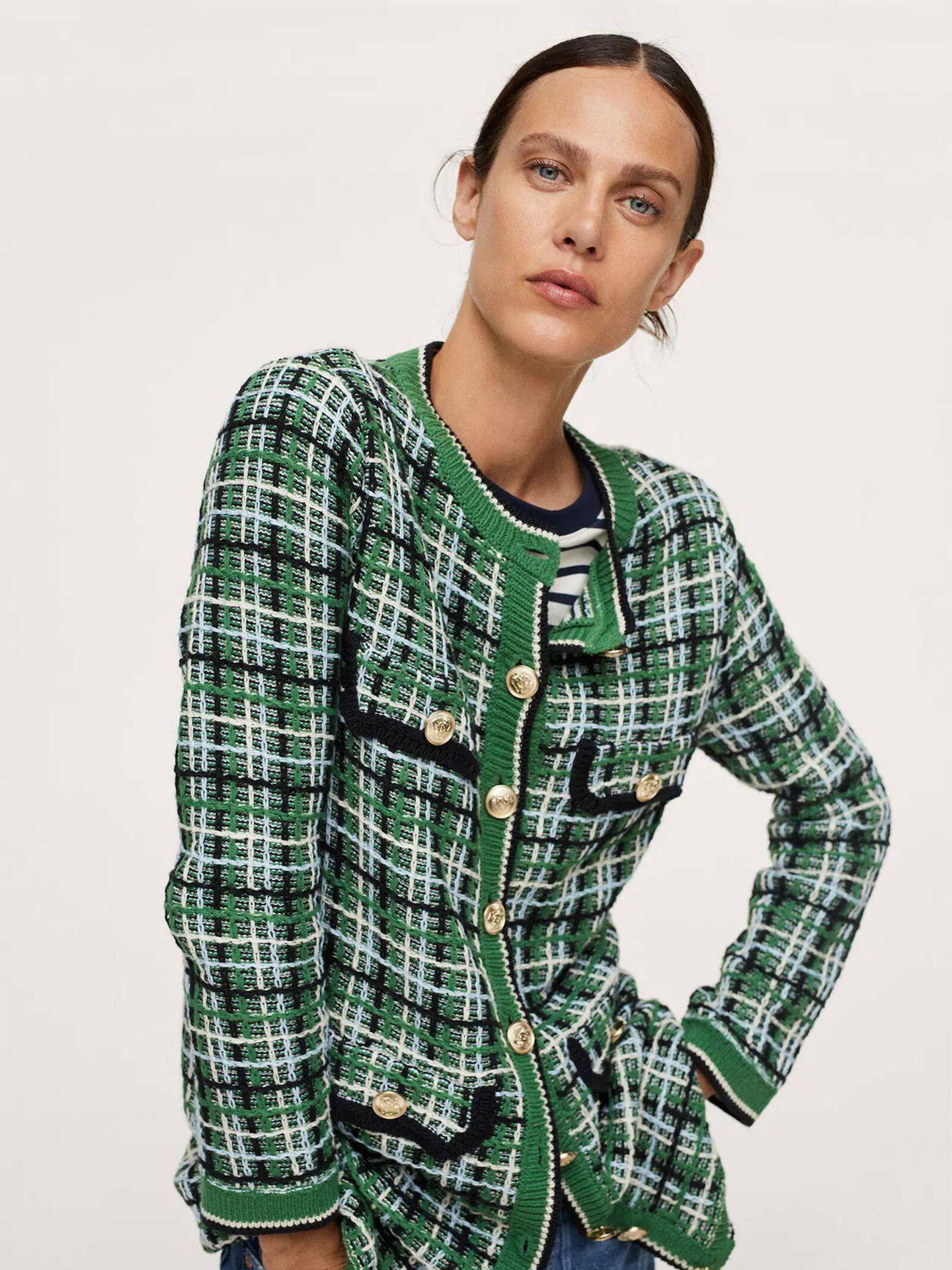 La chaqueta de tweed de Mango que a dará a tus looks un toque diferente. (Cortesía)