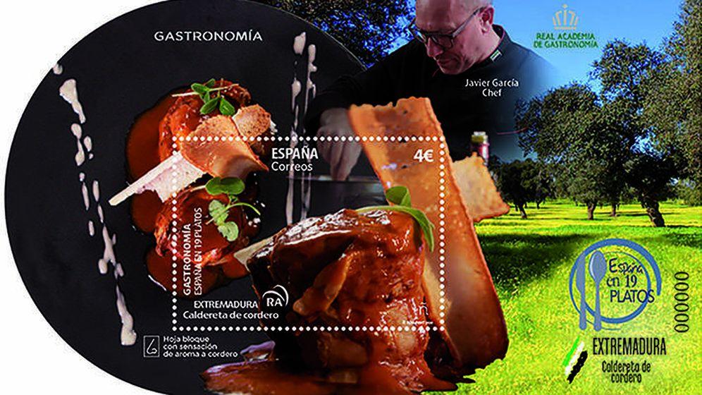 Foto: Detalle del sello dedicado a la caldereta. Foto: Correos
