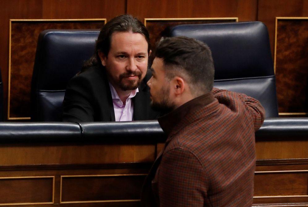Foto: Pablo Iglesias y Gabriel Rufián, en el Congreso. (EFE)
