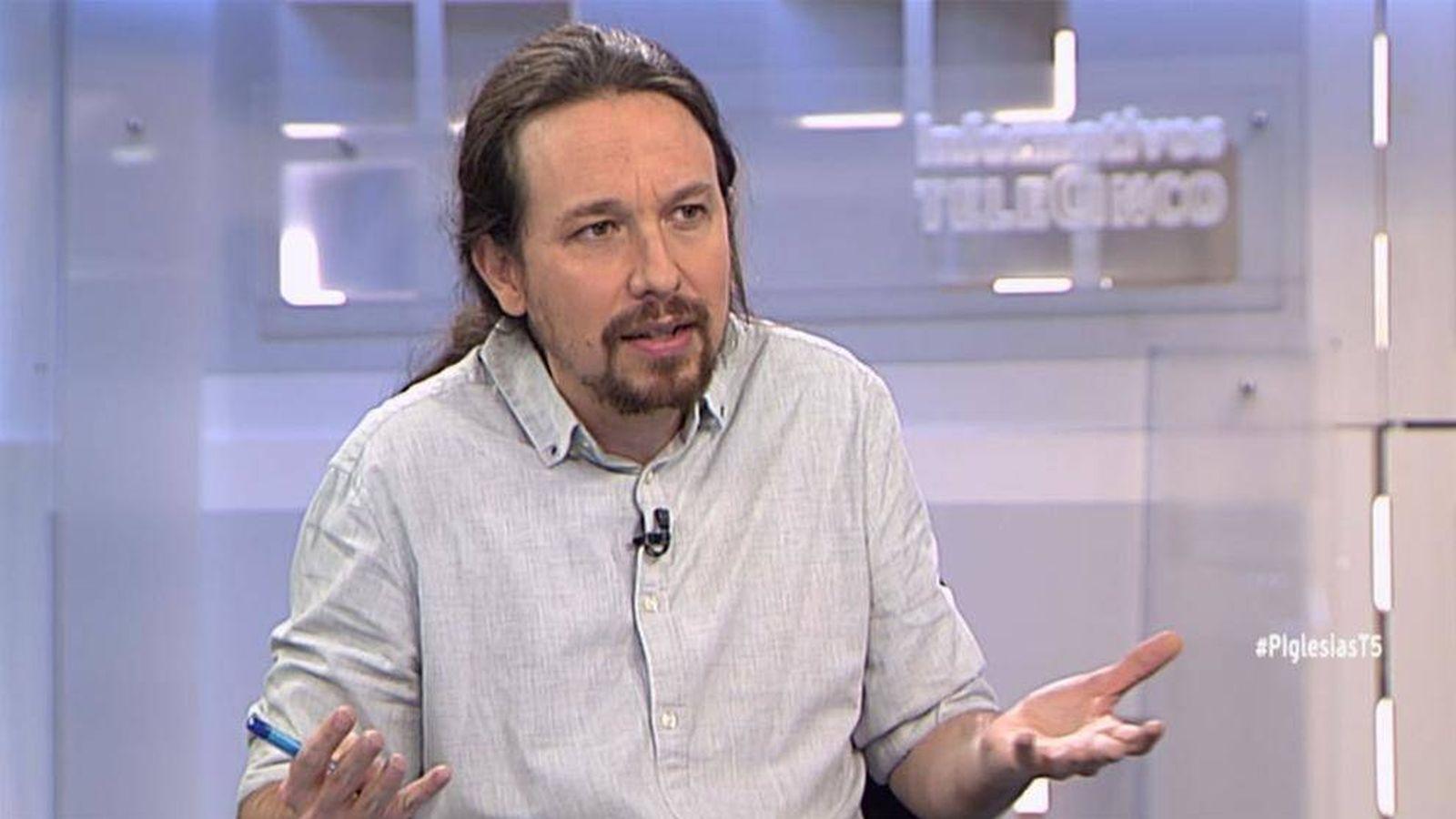 Foto: Pablo Iglesias, el pasado lunes en televisión. (Mediaset)