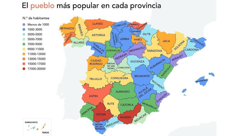 El pueblo más popular en cada provincia. Infografía: Musement