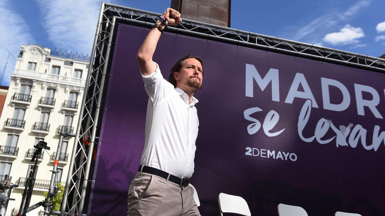 Foto: El secretario general de Podemos Pablo Iglesias durante un mitin en la plaza del museo Reina Sofía, el pasado 2 de mayo. (EFE)
