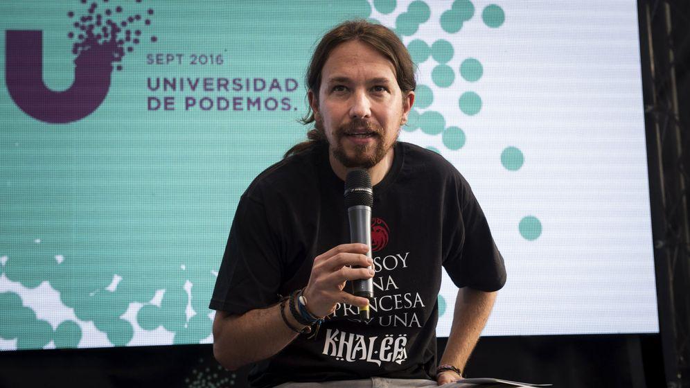 Foto:  El líder de Podemos, Pablo Iglesias, durante la clausura hoy de la Universidad del partido en la Universidad Complutense de Madrid. (EFE)