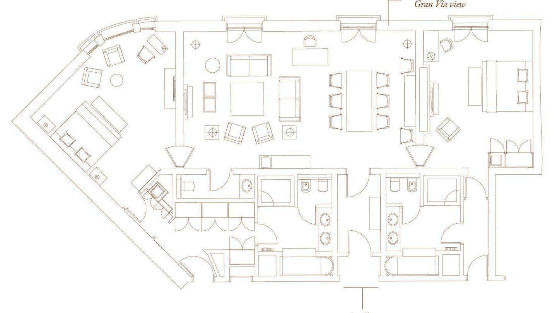 Plano de la suite en la que se ha alojado Woody Allen.