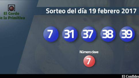 Resultados del Gordo de la Primitiva del 19 febrero 2017: números 7, 31, 37, 38, 39