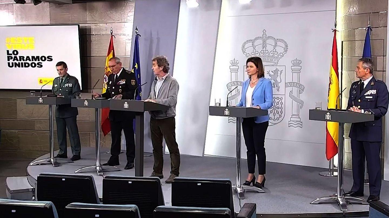 Rueda de prensa del Comité de gestión técnica para hacer frente al coronavirus, con representantes de las Fuerzas Armadas, la Guardia Civil y la Policía Nacional. (EFE)