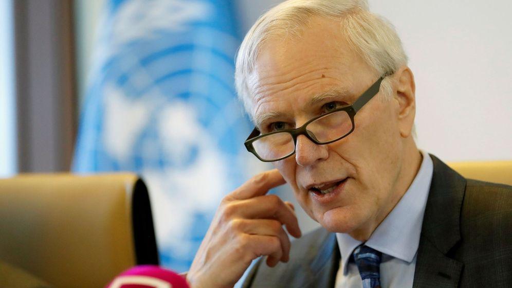 Foto: El relator de la ONU sobre la extrema pobreza y los derechos humanos, Philip Alston, en su visita a Madrid. (EFE)