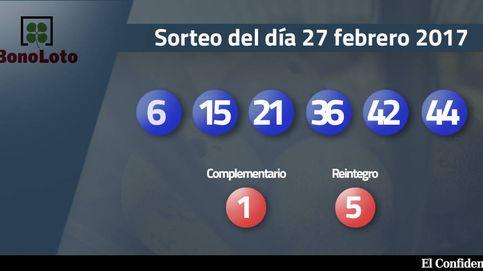 Resultados de la Bonoloto del 27 febrero 2017: números 6, 15, 21, 36, 42, 44
