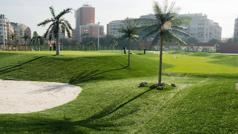 Varios hoyos del campo de golf de Chamberí.