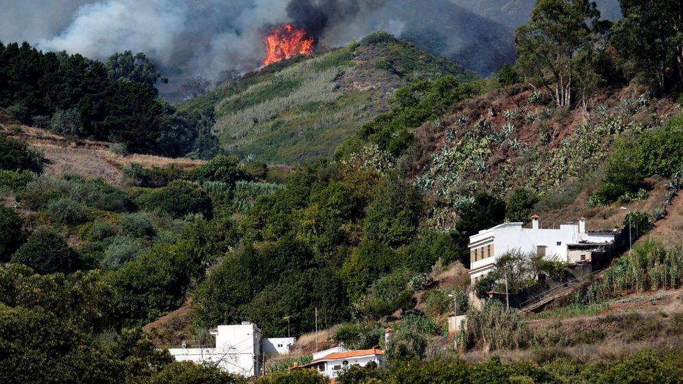 Foto: Vista del incendio forestal que comenzó el sábado en la isla de Gran Canaria. (EFE)