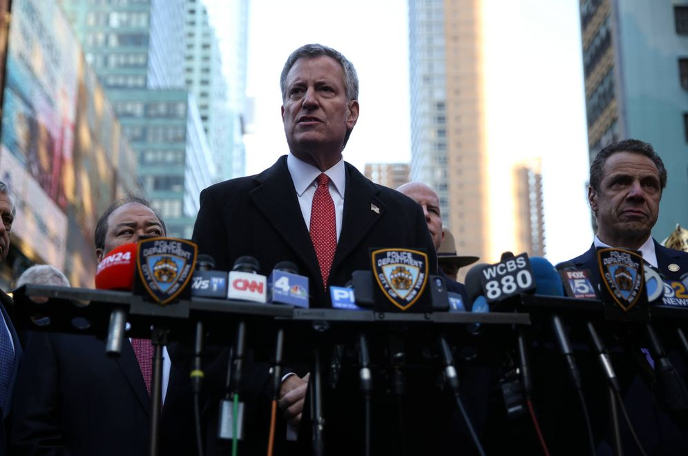 Foto: El alcalde de Nueva York, Bill de Blasio, durante una rueda de prensa en diciembre de 2017. (Reuters)