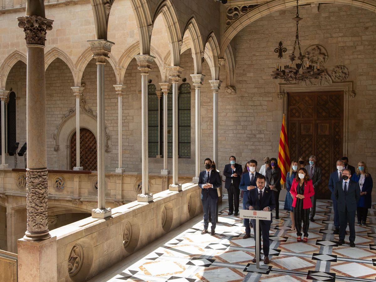 Foto: Pere Aragonès, acompañado por todo su Ejecutivo. (EFE)