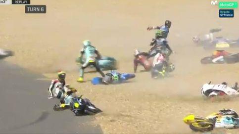 Espectacular caída múltiple (15 motos) en el GP de Francia de Moto3