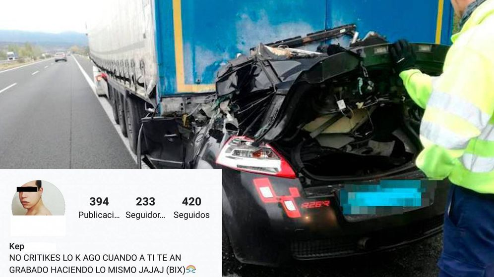 Foto: Estado en el que quedó el vehículo del Kepa. Al margen, su perfil de Instagram. (Salamanca24horas.com)