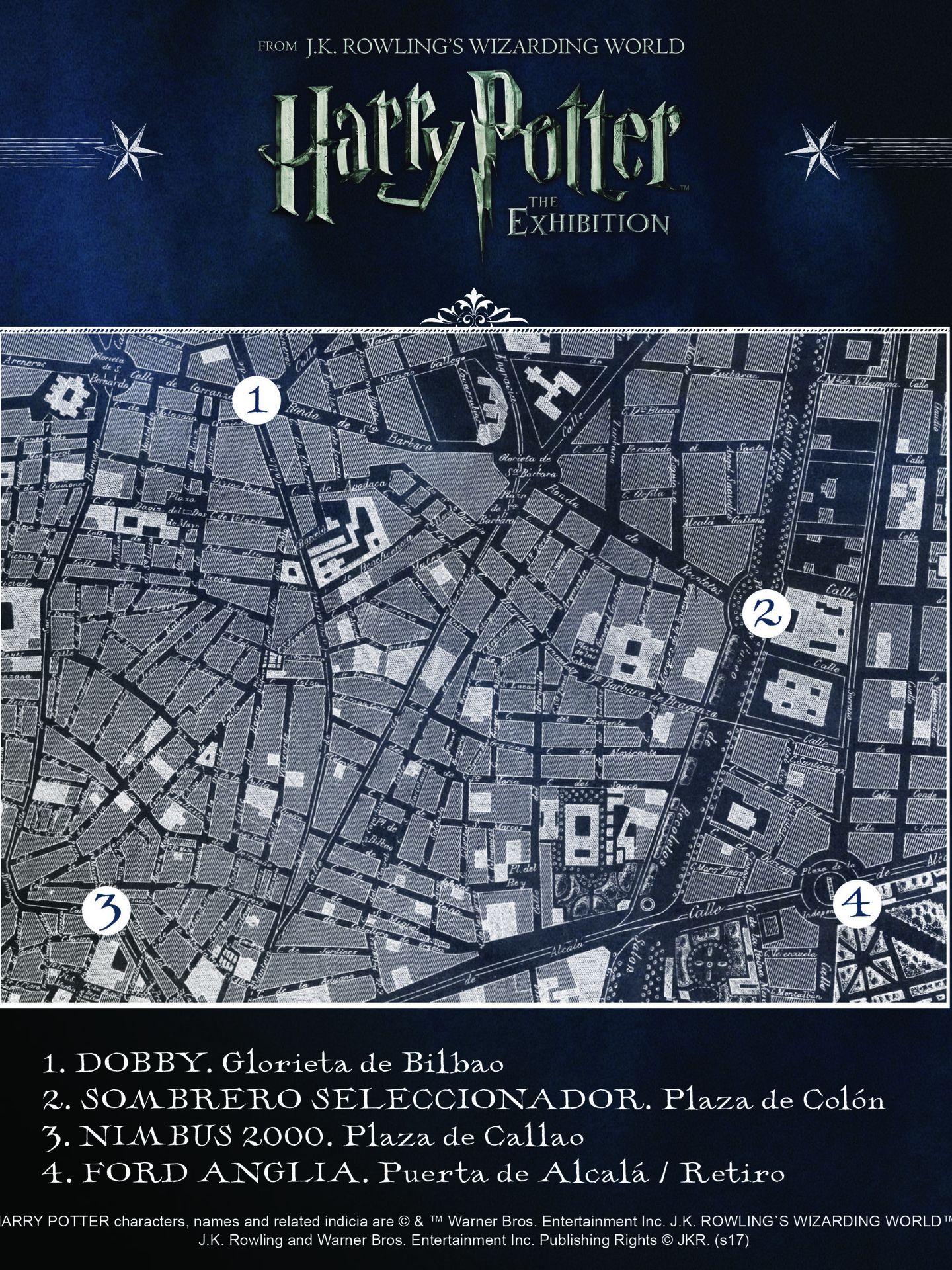 Mapa de localización de estatuas de Harry Potter en Madrid