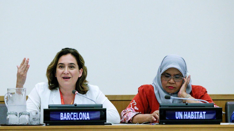 Ada Colau, durante la inauguración de la cumbre mundial de grandes ciudades por la emergencia climática. (EFE)