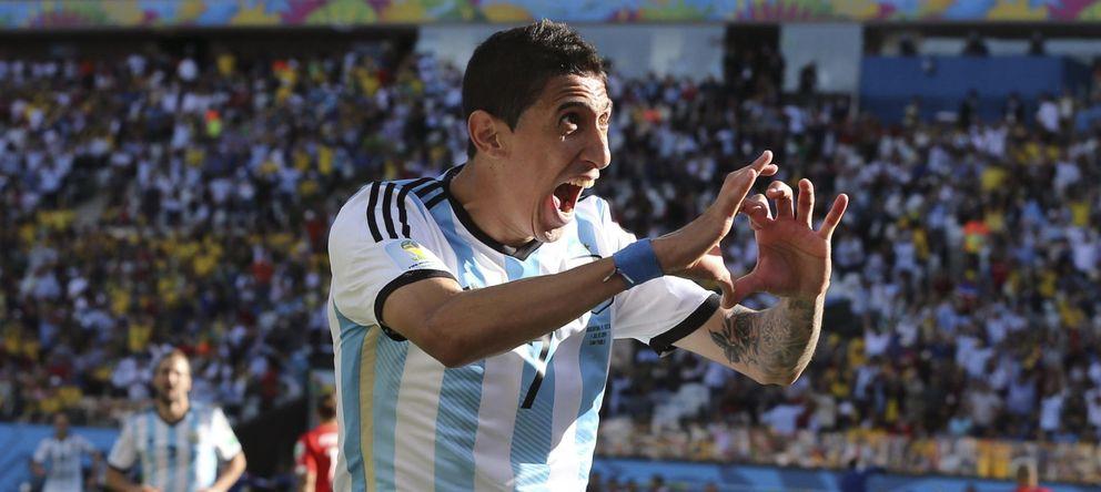 Foto: Di María celebra el gol marcado en el Argentina-Suiza (EFE)