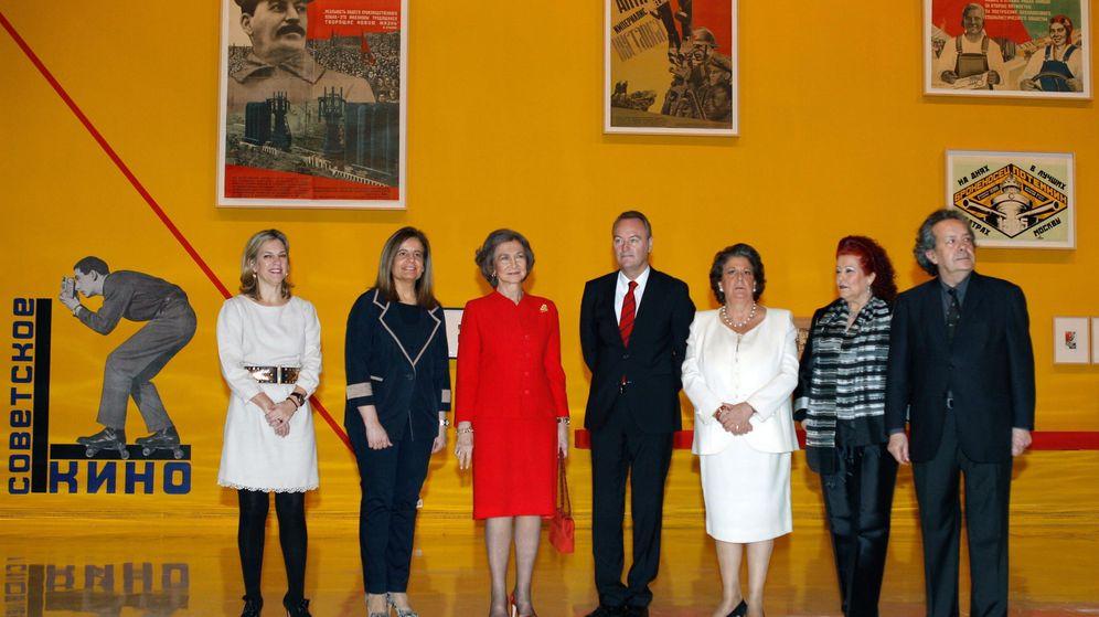 Foto: La reina Sofía junto a Alberto Fabra, Rita Barberá y Consuelo Ciscar, en la inauguración de la exposición-aniversario 25 años del IVAM. (EFE)