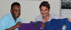 Federer y Pelé intercambian sus camisetas