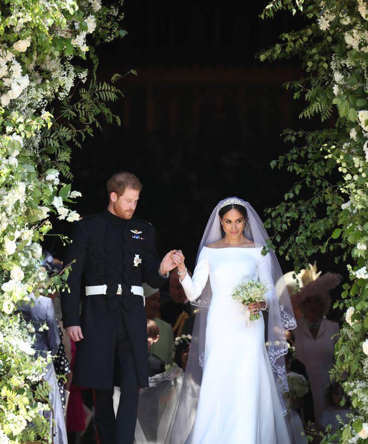 Foto: Meghan Markle y el príncipe Harry el día de su boda. (Getty)