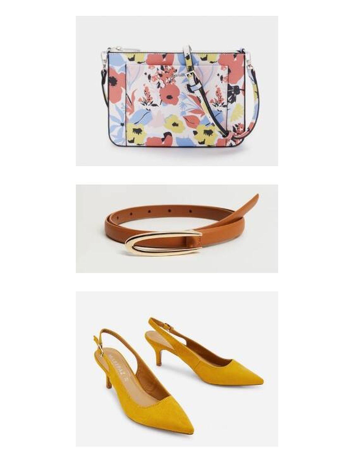 Bolso de Parfois, cinturón de Mango y salones destalonados de Marypaz. (Cortesía)
