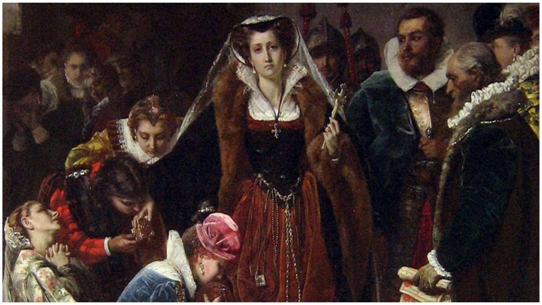 Representación de la llegada al patíbulo de la reina de Escocia de Scipione Vannutelli. (Galería d'Arte Moderna de Milán)