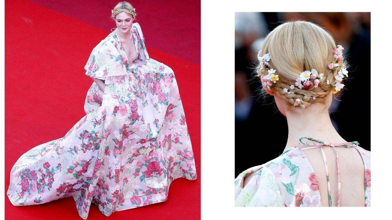 Flores en el vestido, en el pelo, en las joyas... (Getty)