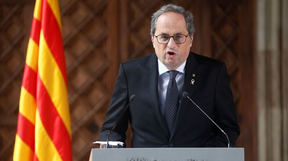 Foto: El presidente de la Generalitat, Quim Torra, en la declaración de este miércoles. (EFE)