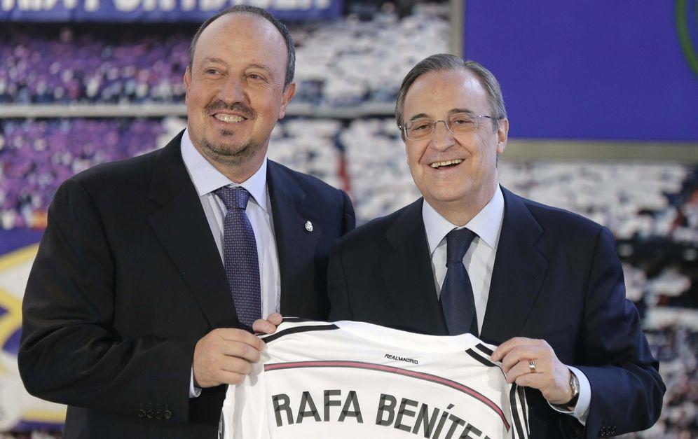 Foto: Rafa Benítez, con Florentino Pérez, el pasado 3 de junio (Efe)