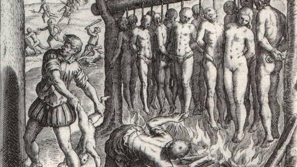 Foto: 'La leyenda negra'. Grabado del neerlandés Theodor de Bry (1528-1598).