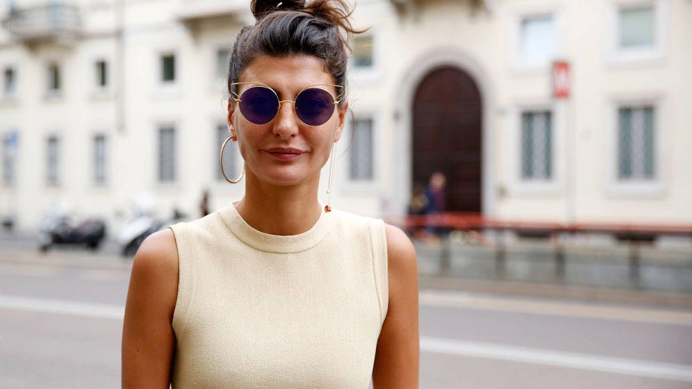 Foto: Giovanna Battaglia en la Semana de la Moda de Milán. (Getty)