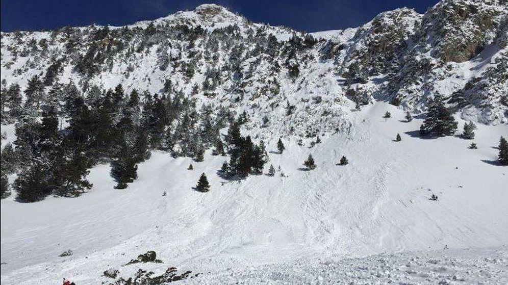 Foto: La zona en la que se ha producido el alud, en el Valle de Conangles. (Foto: Bomberos de la Generalitat)