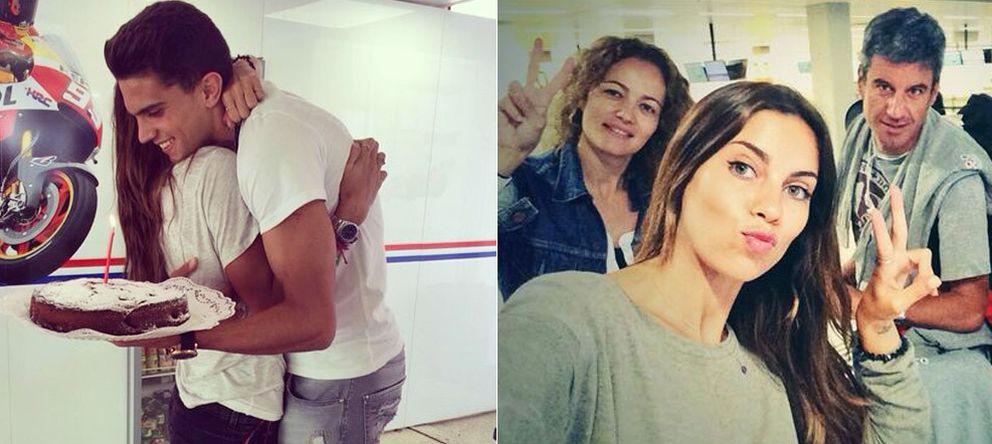 Foto: Melissa Jiménez y Marc Bartra, a la izquierda. A la derecha, la periodista con sus compañeros, entre ellos Nico Abad (Instagram)