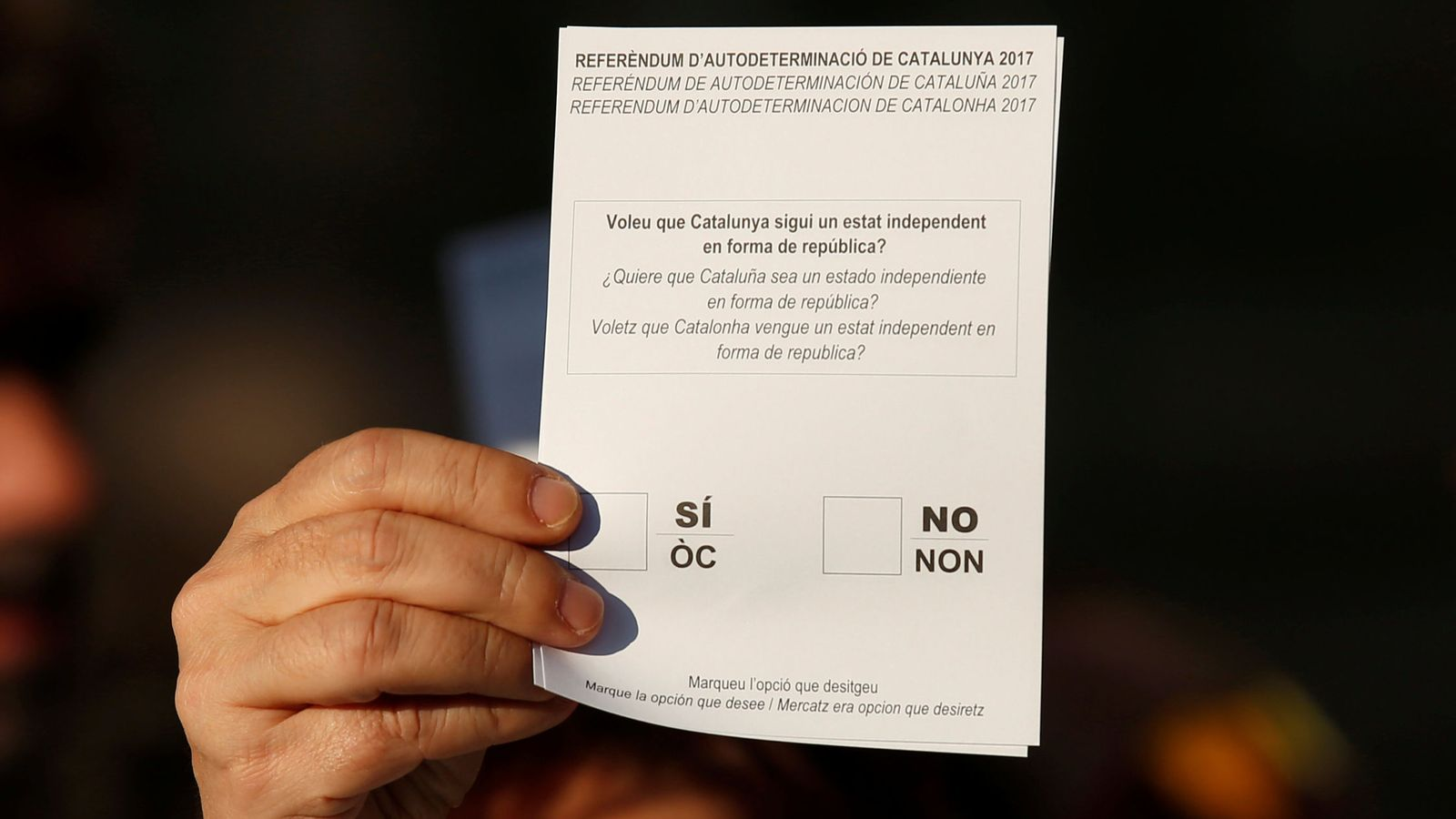 Foto: Papeleta de votación en el referéndum de este domingo. (Reuters)