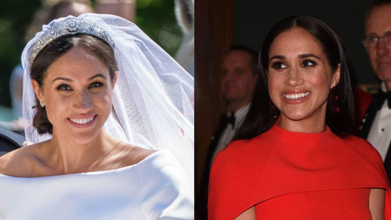Meghan Markle, en su boda en 2018 y en su regreso a Inglaterra en 2020. (Cordon Press/Getty)