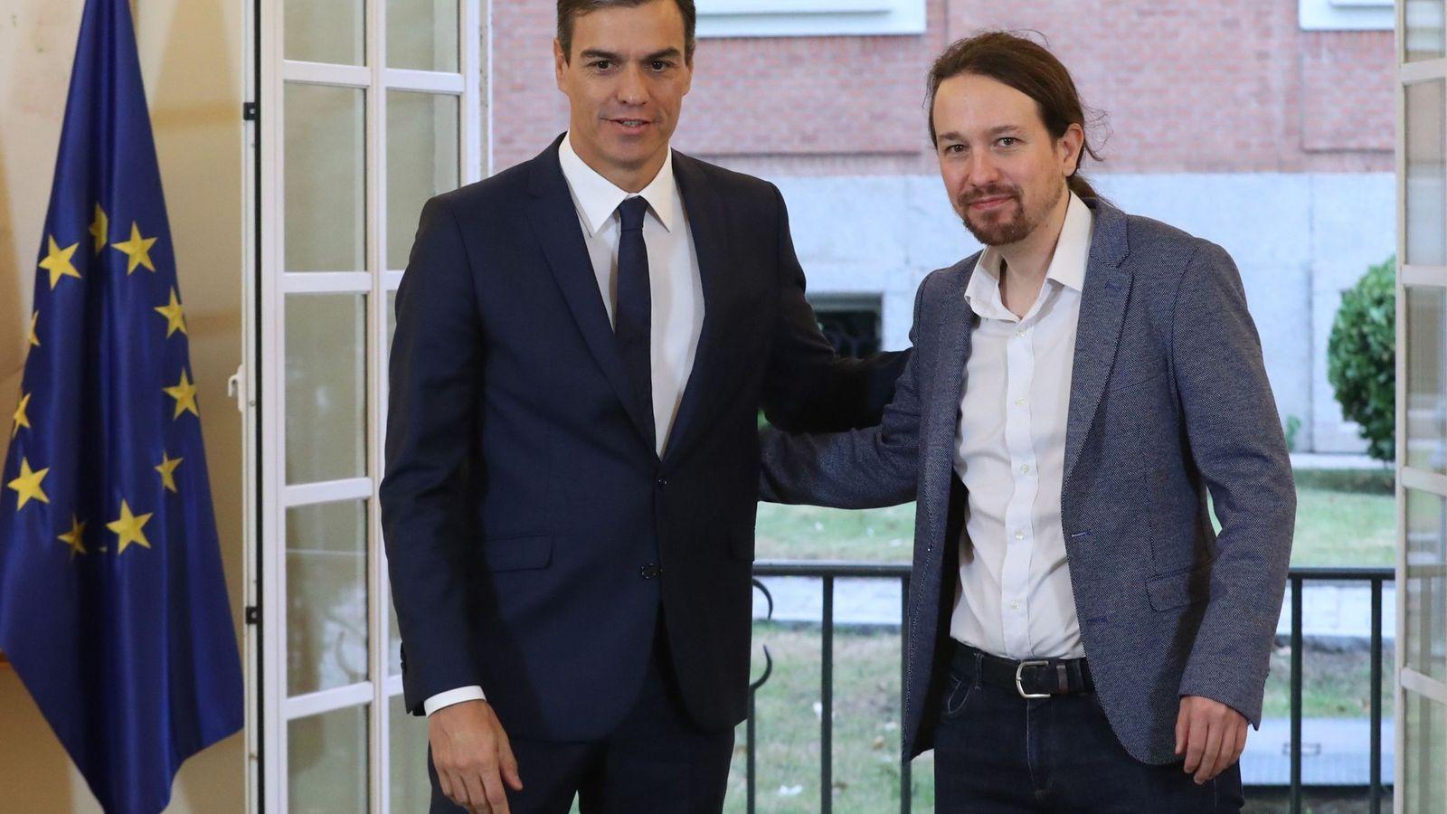 Foto: Sánchez e Iglesias, este jueves en La Moncloa. (EFE)