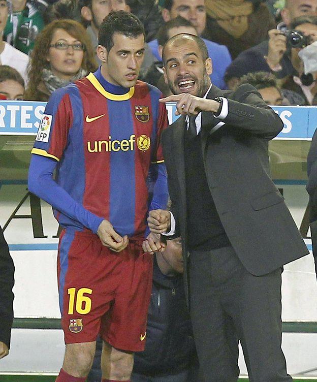 Foto: Guardiola y Busquets, en su etapa en el Barça (Efe).