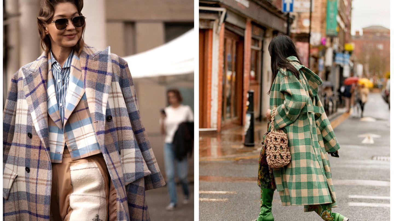 La modelo Gigi Hadid con un look a cuadros y una influencer con un abrigo tartán. (Imaxtree)