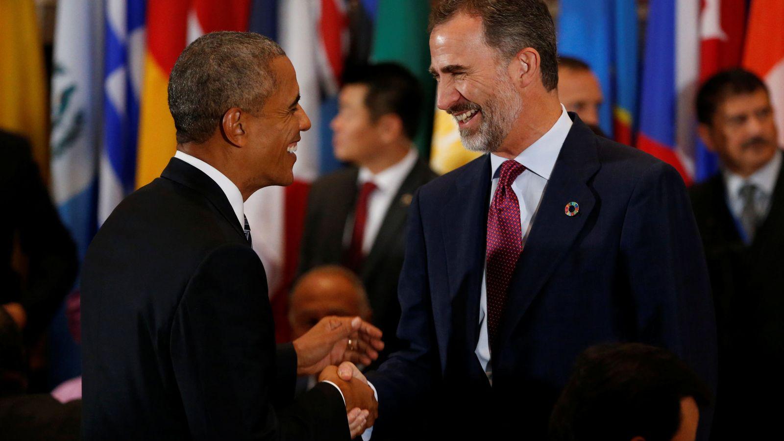 Foto: El rey Felipe VI saluda al presidente norteamericano Barack Obama. (Reuters)