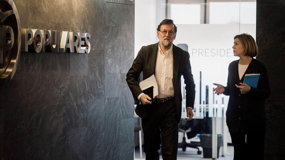 Foto: El expresidente del Gobierno, Mariano Rajoy, en la sede del PP en Génova. (EFE)