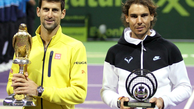 Novak Djokovic y Rafa Nadal, en Doha, Qatar. (Reuters)
