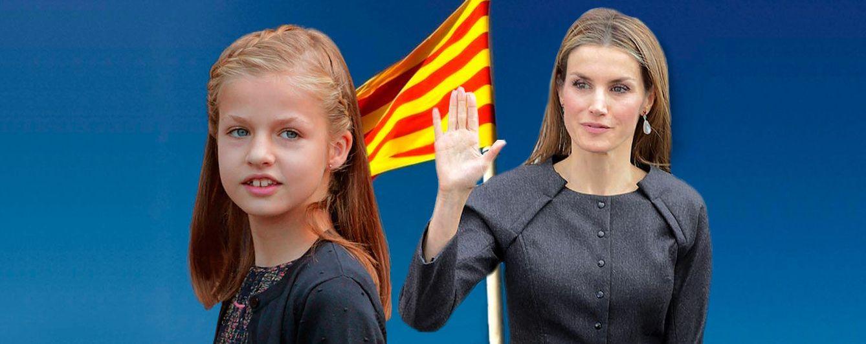 Foto: La infanta Leonor y la Reina Letizia con la bandera catalana (Fotomontaje Vanitatis)